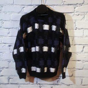 VTG Knit Sweater Geometric Checker Rainbow USA